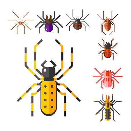 Een vectorillustratie van het spinachtige grafische vlakke pictogram van het spinneweb.