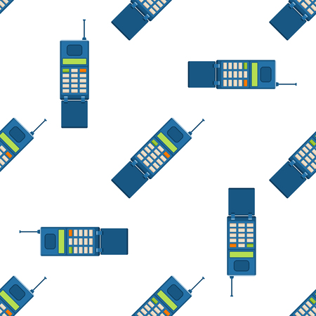 Vector vintage phones retro lod telephone seamless pattern background connection device technology telephonic illustration