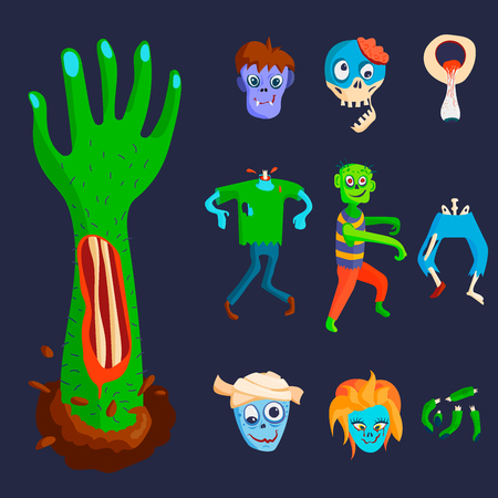 Colorful zombie scary cartoon character and magic people body part cartoon fun monster vector illustration