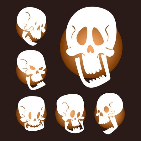 Skull bones human face halloween horror crossbones fear scary illustration isolated on background; Skull bones warning gothic cartoon character emotions in avatar design.
