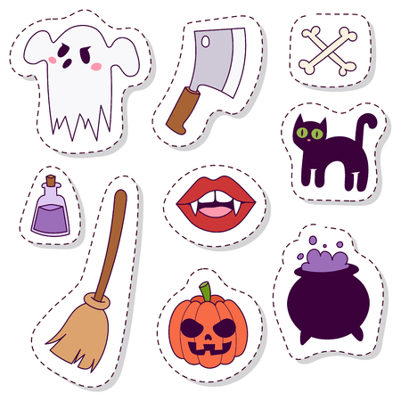 Halloween carnival symbols patchwork vector illustration with pumpkin and ghost spooky October autumn fear creepy traditional sign. Иллюстрация