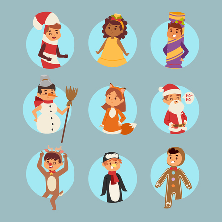 Illustration of Christmas carnival costume kids vector.