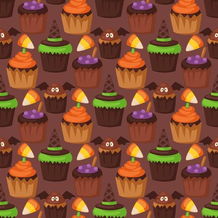Halloween cookie seamless pattern background Illustration