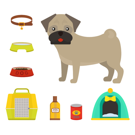 Pug hond die vectorillustratie speelt