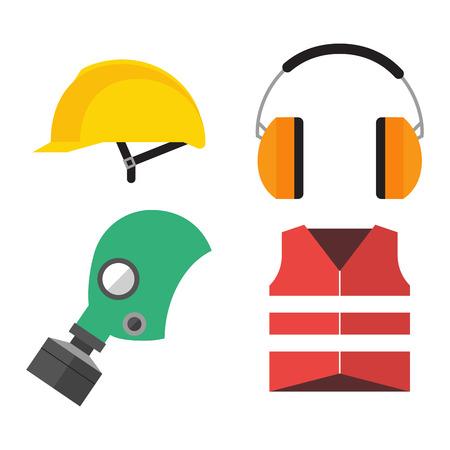 gasmask: Safety industrial gear icons Illustration