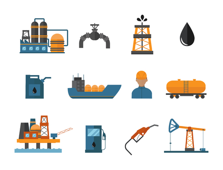 Mineral oil petroleum extraction icons illustration Vettoriali