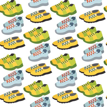 Naadloos patroon met van de de kleuren vlakke kleding van de tennisschoenschoen vectorillustratie als achtergrond.