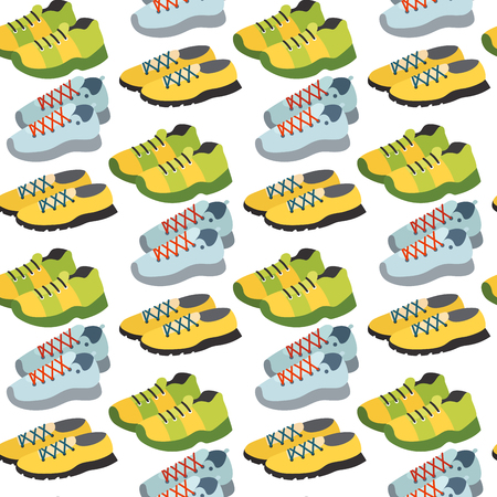 Seamless pattern with sneaker shoe color flat clothing background vector illustration.