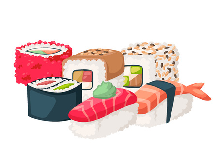 Sushi japanese cuisine vector illustration. Illustration