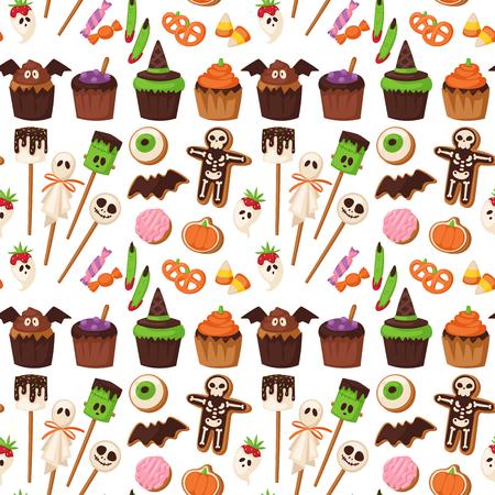 Halloween cookie seamless pattern background, vector illustration.