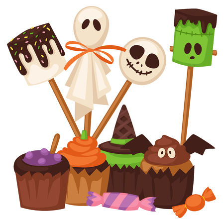 A vector illustration of Halloween party with cookies and Halloween costumes. Illustration