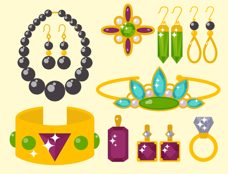 A vector of jewelry items for fashion accessories illustration. Ilustração