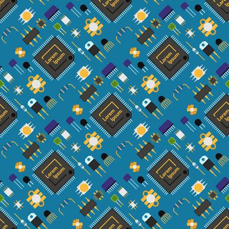 컴퓨터 칩 기술 프로세서 회로 벡터 일러스트 레이 션을 설정합니다.