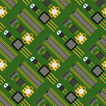 A computer chip technology processor circuit seamless pattern background, vector illustration.