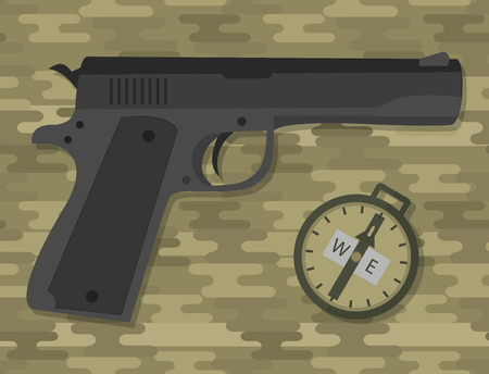 A military hand gun with compass vector illustration.