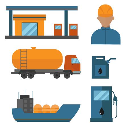 鉱物油石油抽出生産ベクトル イラスト。  イラスト・ベクター素材