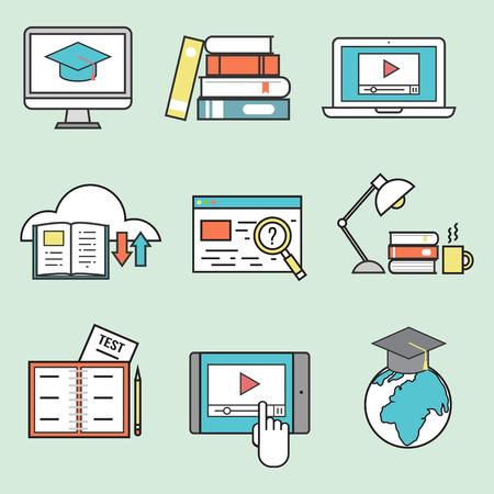 교육 벡터 일러스트 레이 션에 대 한 평면 디자인 아이콘 온라인 교육.