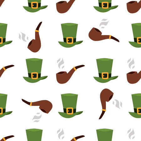 A green material leprechaun hat with brown leather band seamless pattern background.