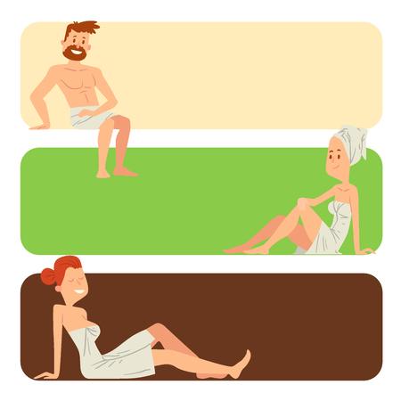 ベクトル図をのんびりする人の顔を洗って、シャワー スチーム。