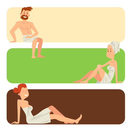A people washing face and taking shower steam to relax vector illustration.