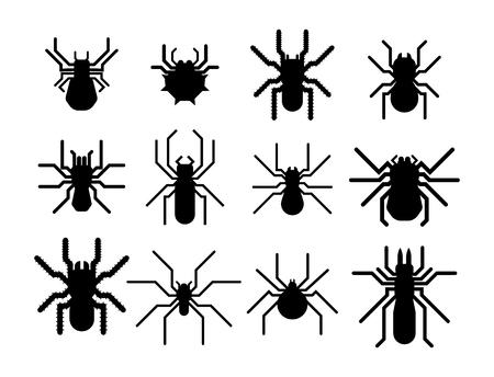 Spider silhouet vector pictogram. Stock Illustratie
