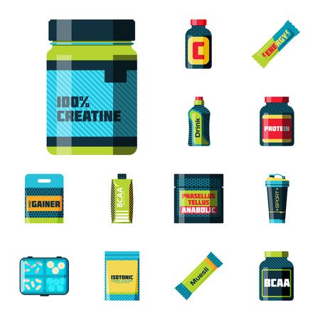 Sport nutrition vector illustration.
