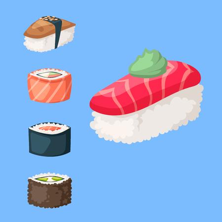 Sushi japanese cuisine vector illustration. Illustration