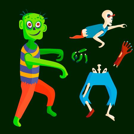 Colorful zombie vector illustration Çizim
