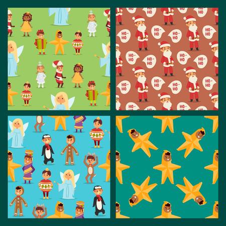 Illustration of cute kids Christmas carnival holiday costumes. Illustration