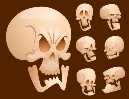 Schädel Knochen menschlichen Gesicht Halloween Horror Zähne Angst beängstigend Vektor-Illustration isoliert auf den Hintergrund