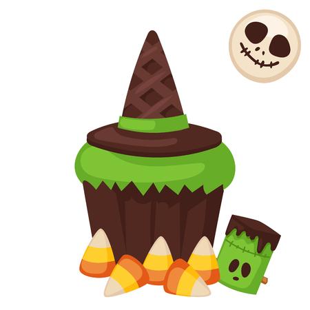 夜ケーキのハロウィン クッキー シンボル パーティー トリックまたは扱うキャンディー ベクトル図。  イラスト・ベクター素材