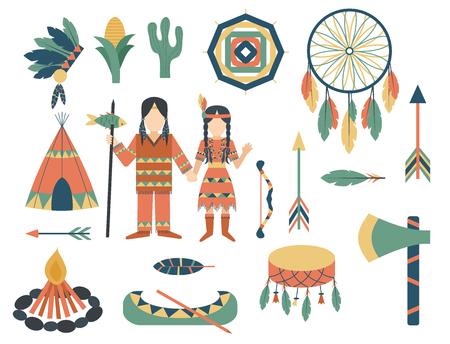 Van het het pictogramtempel van Indiërs de ornament en de elementen vectorillustratie van mensen retro uitstekende hinduism etnische mensen.