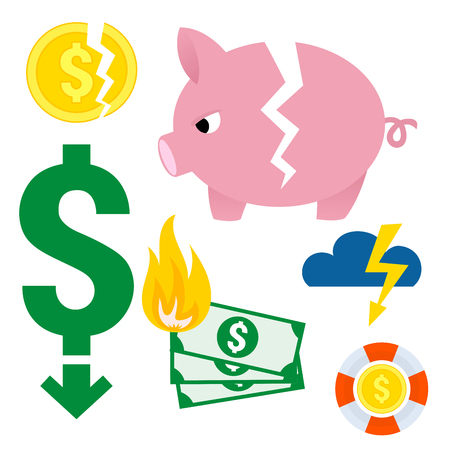 Crisis symbols concept problem economy banking business finance design.