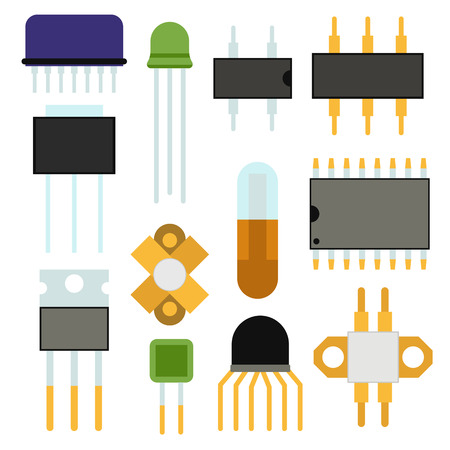 Computer chip technology processor circuit and motherboard information system vector illustration.
