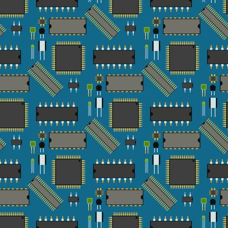 컴퓨터 칩 기술 프로세서 회로 및 마더 보드 정보 시스템 벡터 일러스트 레이 션.