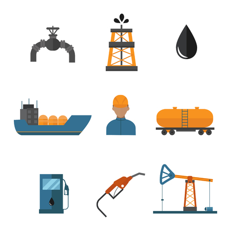 Mineral oil petroleum extraction production transportation factory logistic equipment vector icons illustration.