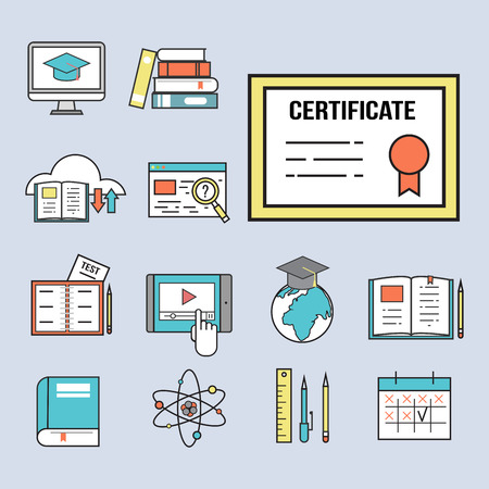Set of flat design icons for online education video tutorials. Illustration