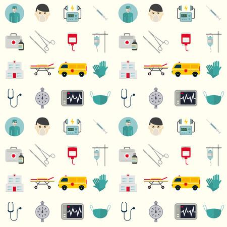 Ambulance pictogrammen vector naadloze patroon achtergrond geneeskunde gezondheid noodhospitaal. Dringende apotheek pil ondersteuning paramedic behandeling kliniek voertuig ontwerp. Stock Illustratie
