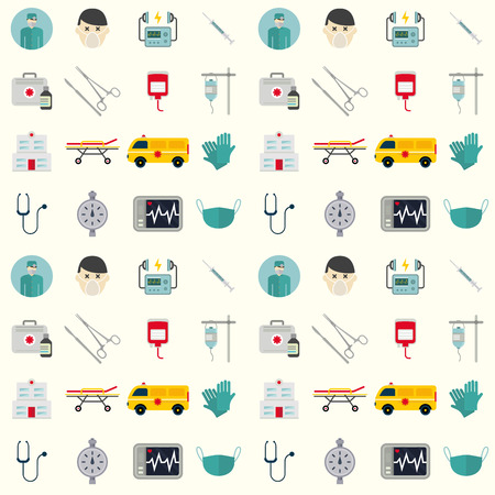 Ambulance icons vector seamless pattern background medicine health emergency hospital. Urgent pharmacy pill support paramedic treatment clinic vehicle design. Illustration