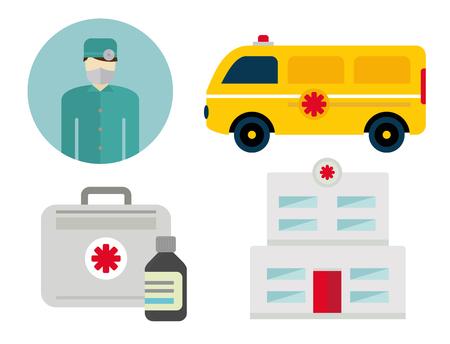 Ambulance iconen vector set. Geneeskunde gezondheid noodsituatie ziekenhuis symbool. Dringende apotheek pil ondersteuning paramedicus behandeling kliniek voertuig ontwerp. Stockfoto - 88251716