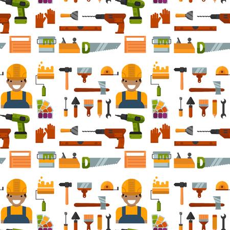 Bouw hulpmiddelen werknemer apparatuur naadloze patroon achtergrond. Huis renovatie klusjesman vectorillustratie. De timmerman industrieel bouwt moersleutelreparatie het werken.