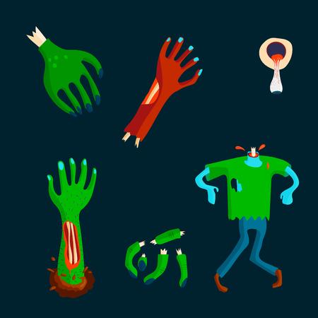 Kleurrijk karakter van het zombie enge beeldverhaal en de magische pret van het mensenlichaamsdeel beeldverhaal. De leuke groene vectorillustratie van monster verschillende uitdrukkingen.