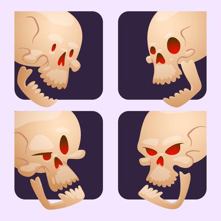 Skull bones human face cards halloween horror crossbones fear scary vector illustration isolated on background. Skull bones warning gothic cartoon character emotions avatar design. Ilustração