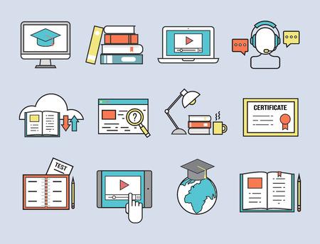 평면 디자인 아이콘 온라인 교육 직원 교육 도서 저장소 먼 학습 지식 벡터 일러스트 레이션