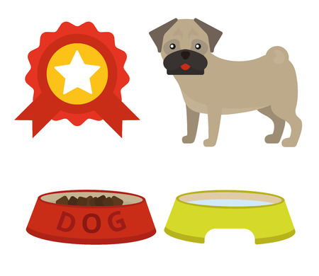 Pug dog playing vector illustration elements set flat style puppy domestic pet symbol. Cartoon doggy adorable looking breed canine presentation accessory. Illustration