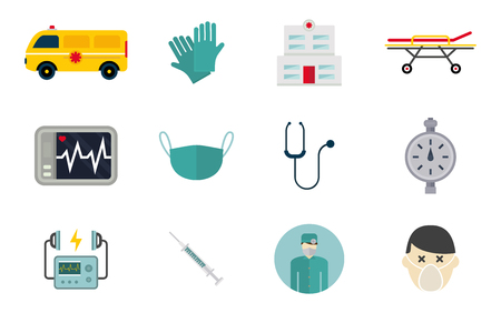 Ambulance icons vector set. Medicine health emergency hospital symbol. Urgent pharmacy pill support paramedic treatment clinic vehicle design. Vectores