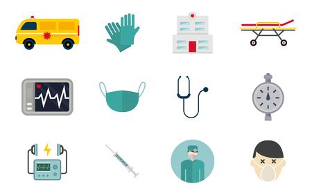 Insieme di vettore delle icone dell'ambulanza. Simbolo dell'ospedale di emergenza salute medicina. Progettazione urgente del veicolo della clinica di trattamento del paramedico di sostegno della pillola della farmacia. Vettoriali