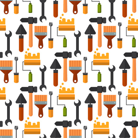 Construction tools worker equipment seamless pattern background. House renovation handyman vector illustration. Carpenter industrial build job wrench repair working.