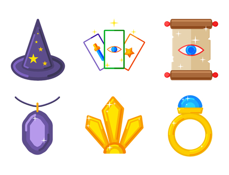 Special magic effect trick symbols, magician wand and surprise entertainment, fantasy, carnival mystery tools, miracle, decoration in cartoon illustration for Fun witchcraft spell event sign.