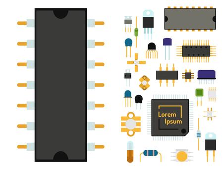 コンピュータ チップ技術プロセッサ回路やマザーボードの情報システムの図。グラフィックを電子ボード エネルギー マイクロプロセッサ パターン  イラスト・ベクター素材